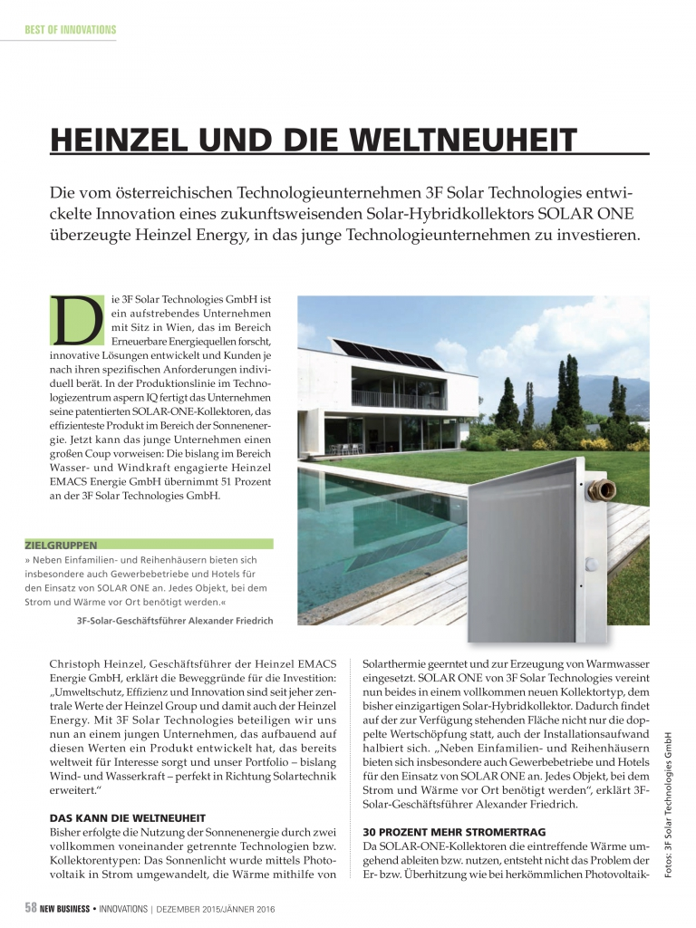 Solar One im New Business Magazin
