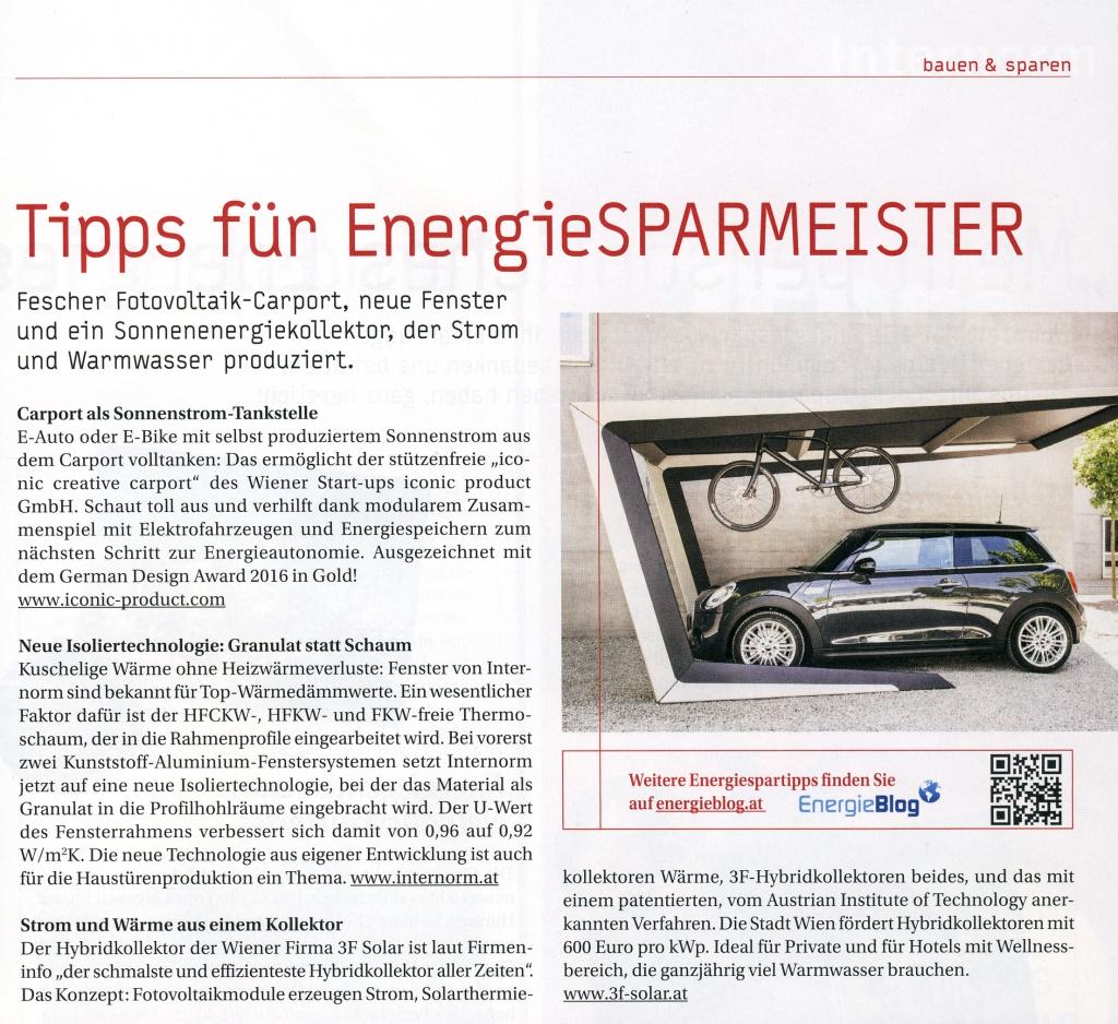 3F Solar Technologies im Wohnzeit Magazin